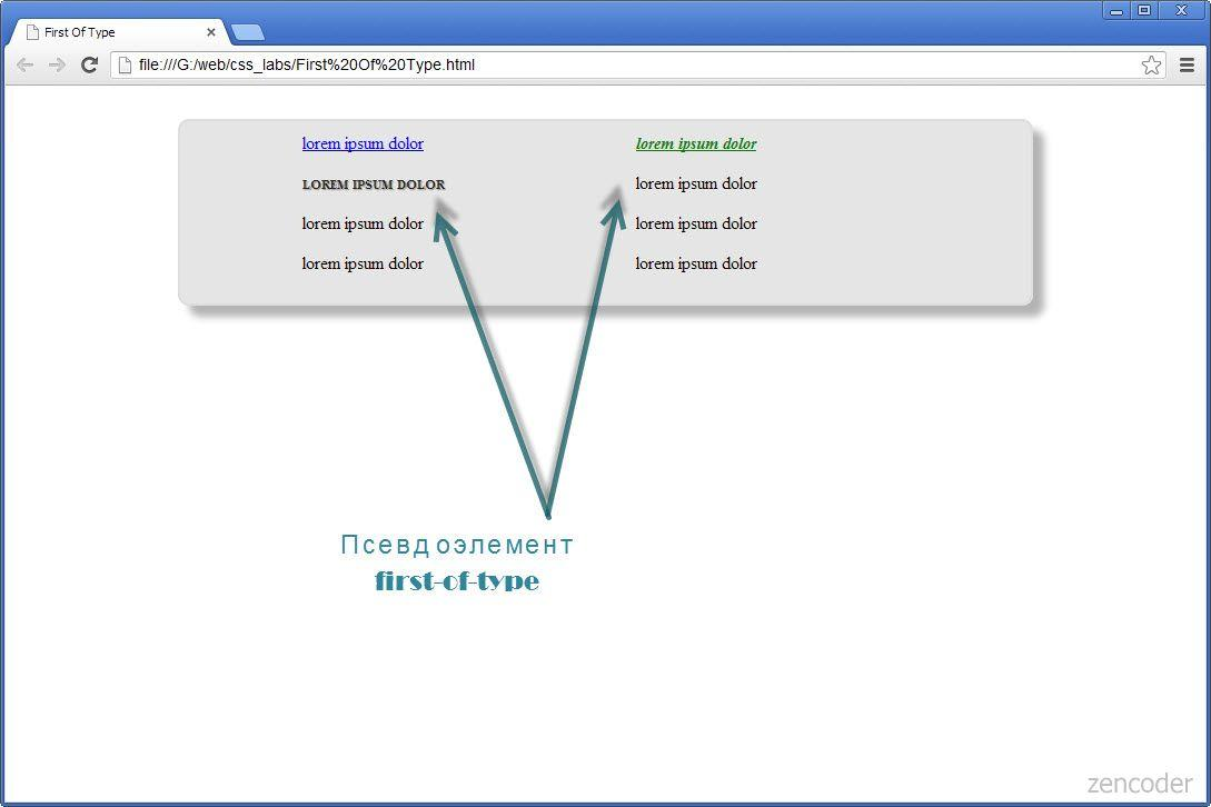 Псевдоэлемент :first-of-type