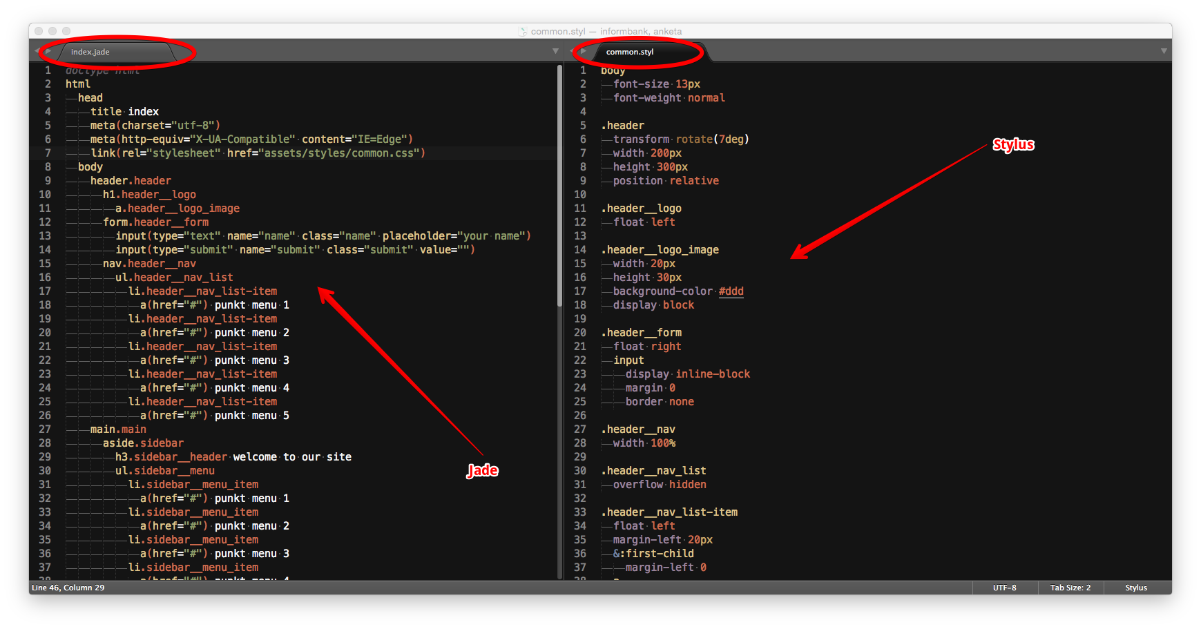 Stylus Sublime Text